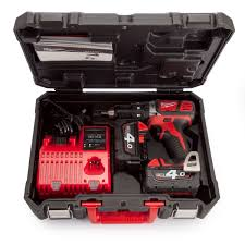 milwaukee m18 logo. milwaukee m18 bpd-402c combi drill 18v charger and case (2 x 4.0ah batteries) logo