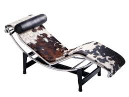 cassina lc chaise longue chrome plated spotted hide black white corbusier chair brown dimensions leco full