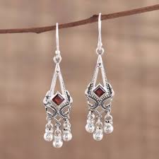 garnet chandelier earrings delightful deco garnet and sterling silver chandelier earrings from