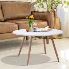 brown modern best round wood coffee table living room varnished plate