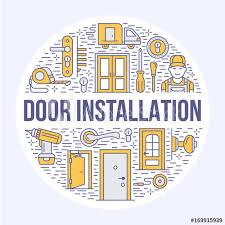 Doors Installation Repair Banner Illustration Vector Line Icons Of