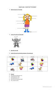 Human Body Parts Chart In English Have Has Parts Of The Body English Esl Worksheets