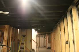 Basement Remodel With Painted Exposed Ceiling - Exposed basement ceiling
