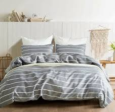 gray and white striped bed set bedding