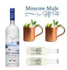moscow mule gift set with 2 copper mugs grey goose vodka