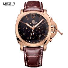 megir 3006 mens fashion quartz watch waterproof wrisch genuine leather strap watches man free