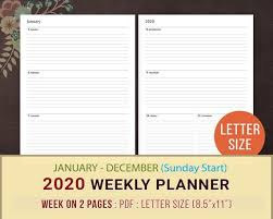 Daily Planner Template 2020 2020 Weekly Planner Printable Sunday Monday Start Wo2p
