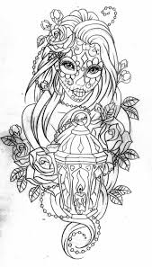 Small Picture Day of the dead coloring page Pinteres
