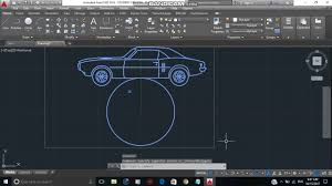 Car Design In Autocad 2d Rotation Of Car On Circle In Autocad Youtube