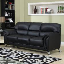 global furniture usa 9103 pvc faux leather sofa in black chrome legs