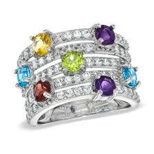 multi semi precious gemstone and lab created white sapphire ring in sterling silver