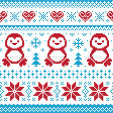 Winter Knitted Pattern With Penguins Christmas Seasons