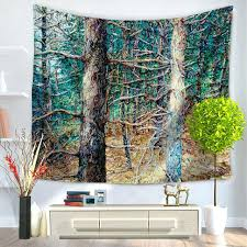 hanging wall tapestry oil painting tree wall tapestry forest scenic large fabric printed hanging wall tapestries hanging wall