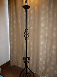 vintage black heavy wrought iron standard floor lamp original fittings re wired