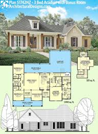 plan 51742hz 3 bed acadian home with bonus over garage stuning ranch house plans room above