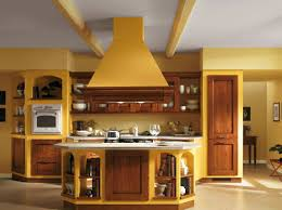 Italian Kitchen Design With White Yellow Wall Colors And Wooden