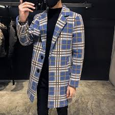 2019 blue plaid casaco masculino long wool coat mens winter 2018 check british style long jacket mens fashion trench coats men from stylefisher