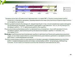 Система проверочных и контрольных измерений в начальной школе  Сводный анализ контрольной работы 1 класс
