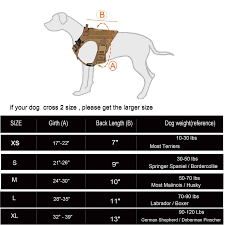 Service Dog Vest Size Chart Icefang Tactical Dog Harness Military Style Dog Harness