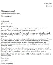 Procurement Specialist Cover Letter Example Icover Org Uk
