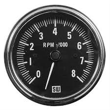 stewart warner deluxe series tachometer bull picclick stewart warner deluxe series tachometer 0 8 000 3 3 8 dia black face