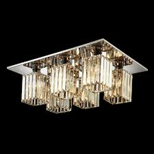 6 light rectangular canopy and crystal cube shade flush mount in 25 9