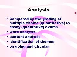 overview of research designs qualitative outline comparison of  22 analysis compared by the grading of multiple choice quantitative to essay qualitative exams word analysis content analysis identification of themes