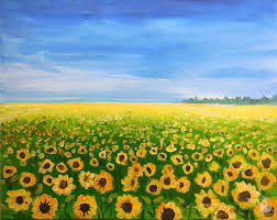 how to paint sunflower field
