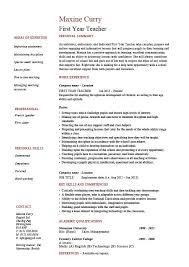 first year teacher resume