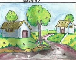 a beautiful village painting a beautiful scenery
