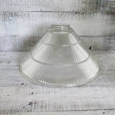 glass lampshade ribbed glass ceiling fixture shade art deco lamp shade holophane glass pendant light globe
