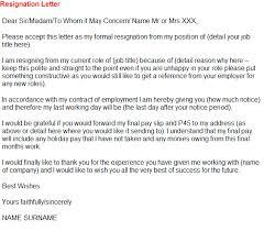 Formal Resignation Letter Example Resignation Letter Example For Asda Toresign Com