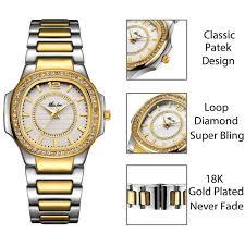 Ladies Designer Bling Watches Diamond Quartz Gold Wrist Watch Gifts For Women Marostorz