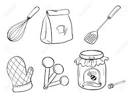 kitchen utensils drawing. Clip Art Vector - A Doodle Set Of Kitchen Utensils, Baking Powder And Honey Jam. Utensils Drawing E