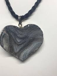 druzy heart shaped pendant sterling silver electroplate stone heart pendant 4