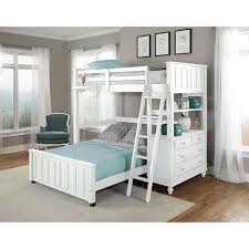 Bunk Beds Designs Free Lake House White Full Loft Bunk Bed With Full Lower Bed
