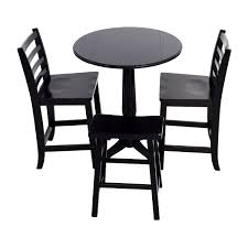 59 off counter black round table with chairs and stool black round pedestal dining table and