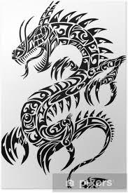 Plakát Kultovní Dragon Tribal Tetování Vektorové Ilustrace