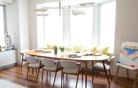 floor seating dining table. Large Oval Wooden Dining Table With Decorative Banquette Seating Plus White Wall Paint Color Background Also Floor