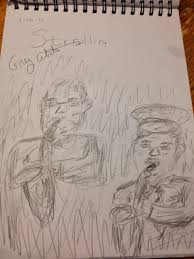 my sketch of greg abate and phil woods l to r