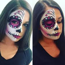 half face beauty sugar skull makeup ideas