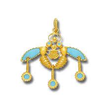 minoan malia bees 18k solid gold and turquoise enamel pendant m culturetaste