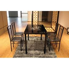 faux leather chair. Modern Black Metal Dining Table Set 1+4 Rectangular Glass Top Stylish Furniture Faux Leather Chair