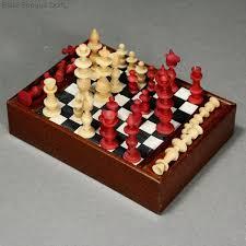 antique dolls house accessory chest game checkers game puppensn zubehor damenspiele schachspiele
