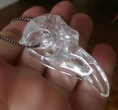 aaa clear quartz raven crystal skull necklace realistic carved bird crow pendant