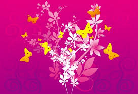 Vignette Design Flowers Butterflies Background Colorful Vignette Design Free