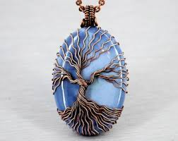 tree of life charm necklace blue opal jewelry birthday gifts for grandma gift for mother in law gift for husband gift for women gift for dad