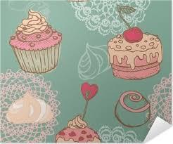 Póster Conjunto De Bellos Fondos Cupcakes En El Vector Pixers