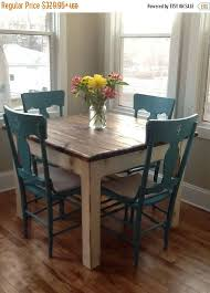beautiful primitive distressed rustic dark walnut stain country white cabin farmhouse 42x42x31h kitchen farm house table custom sizes colors