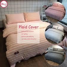 muji washed cotton bedding set bedcover sets plaid duvet cover sets